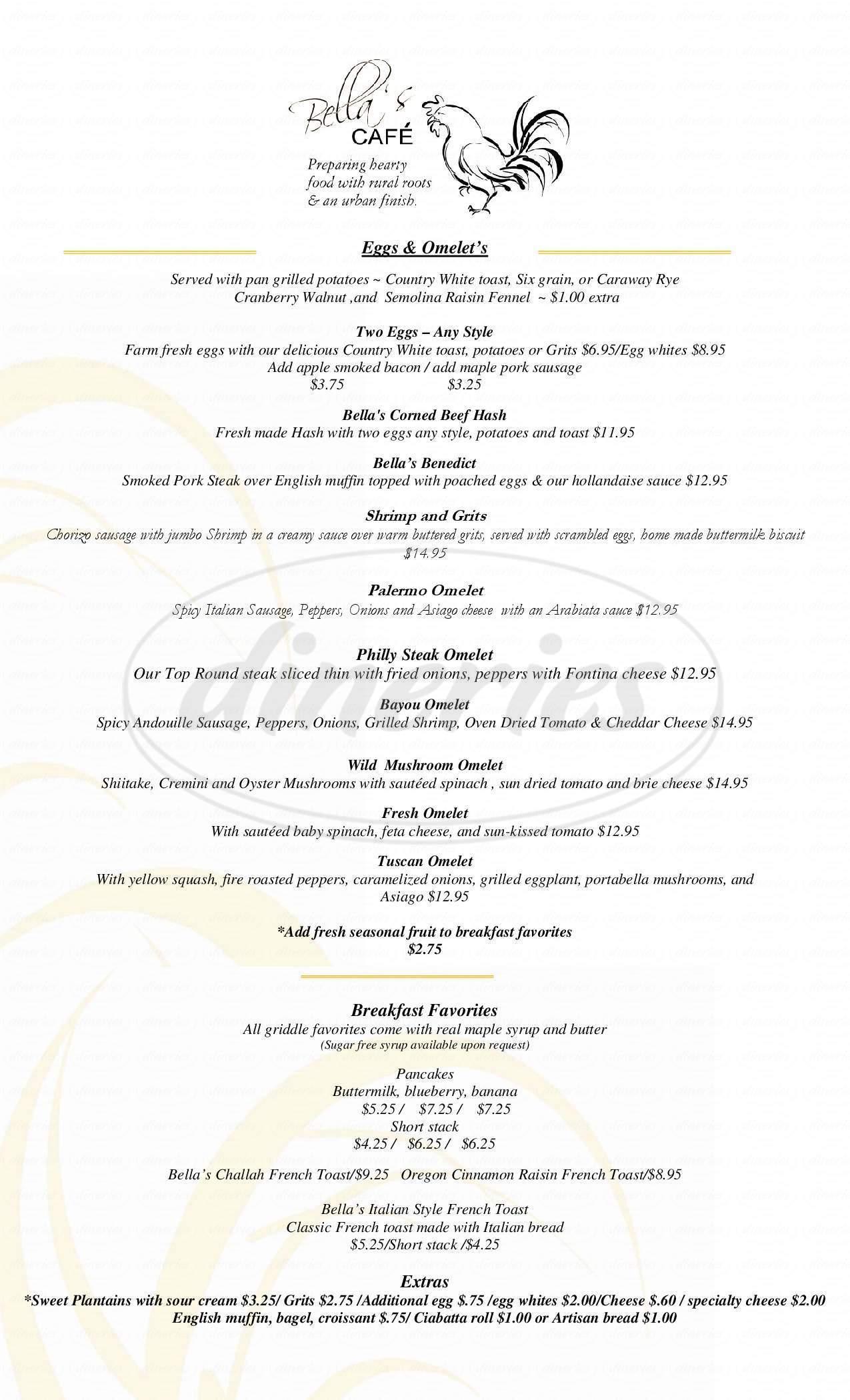 menu for Bella's Cafe