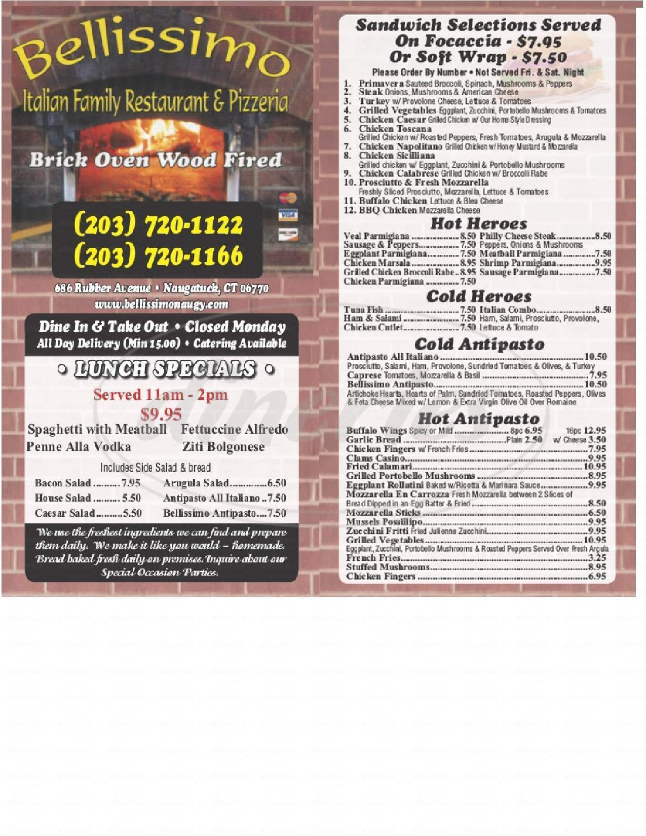 menu for Bellissimo Family Restaurant & Pizzeria