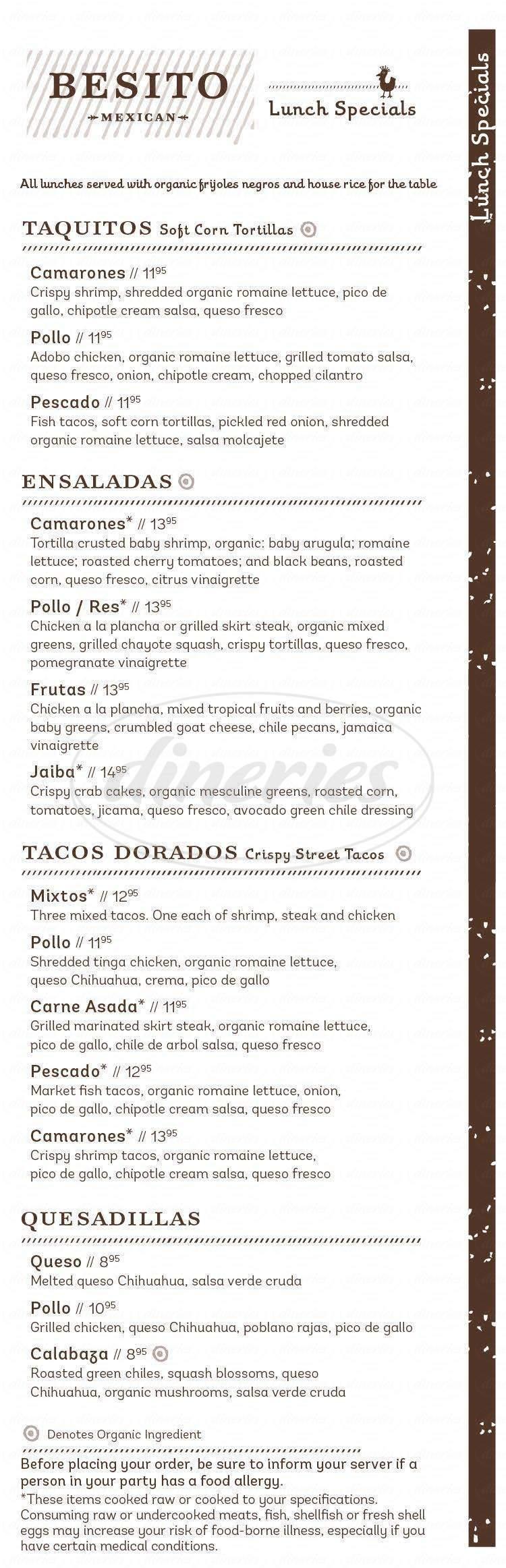 menu for Besito