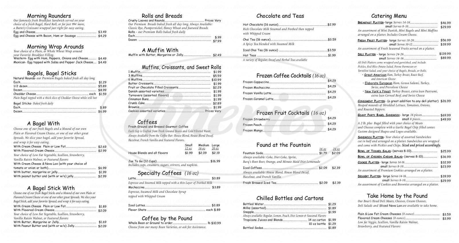 menu for Between Rounds Bagel Deli & Bakery