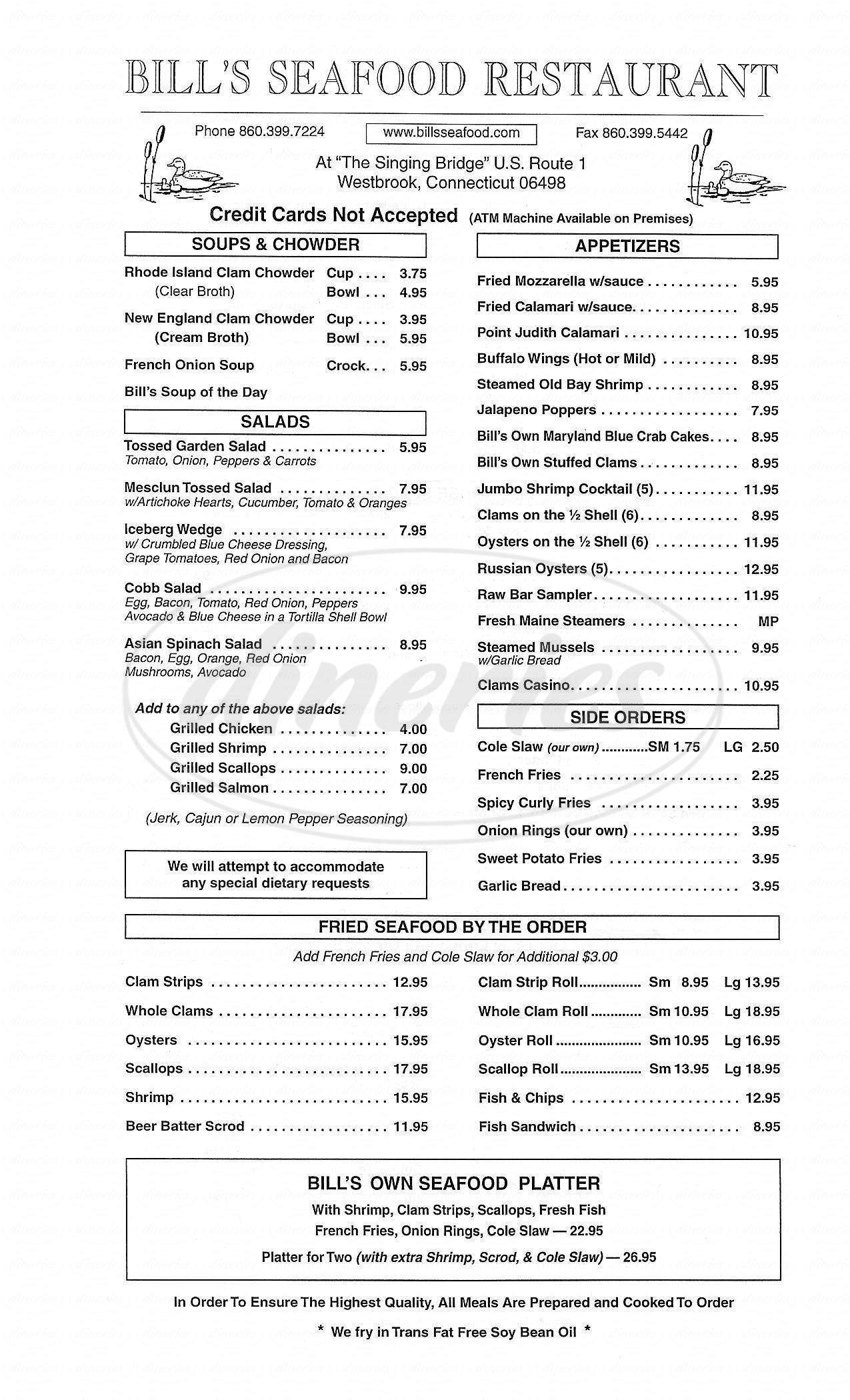 menu for Bill's Seafood Restaurant