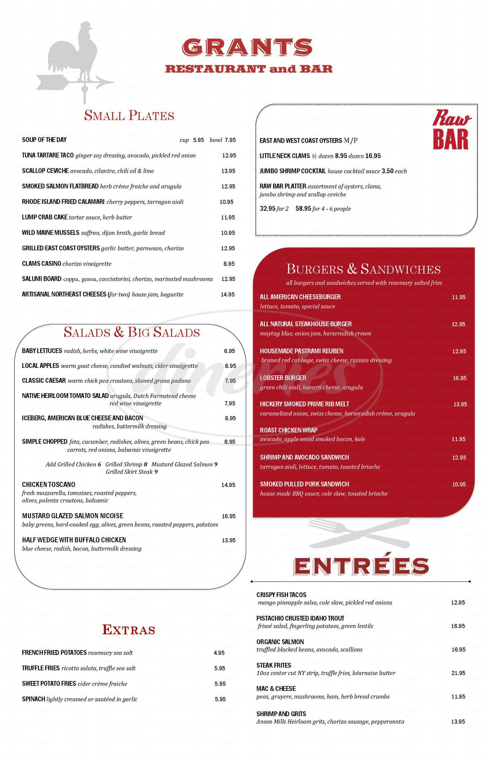 menu for Grants Restaurant & Bar