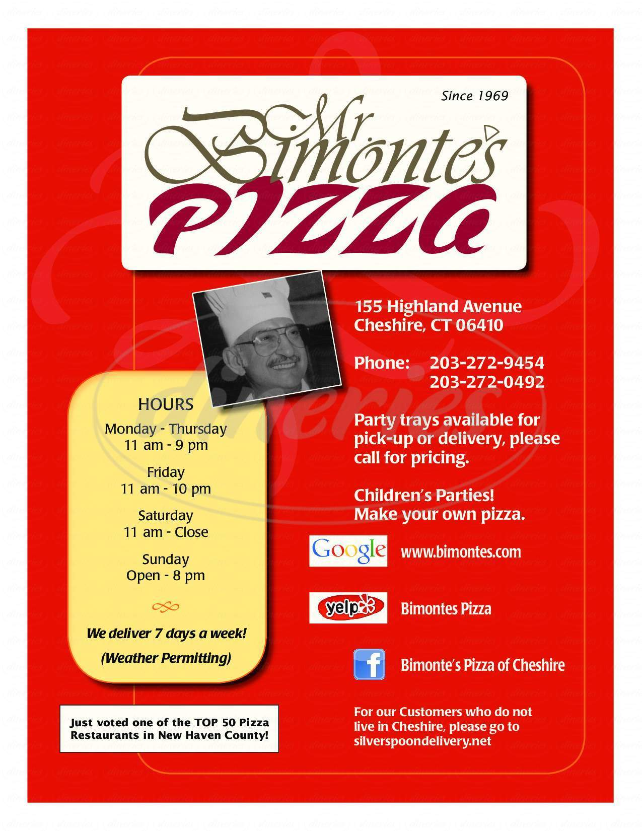 menu for Mr B's Pizza