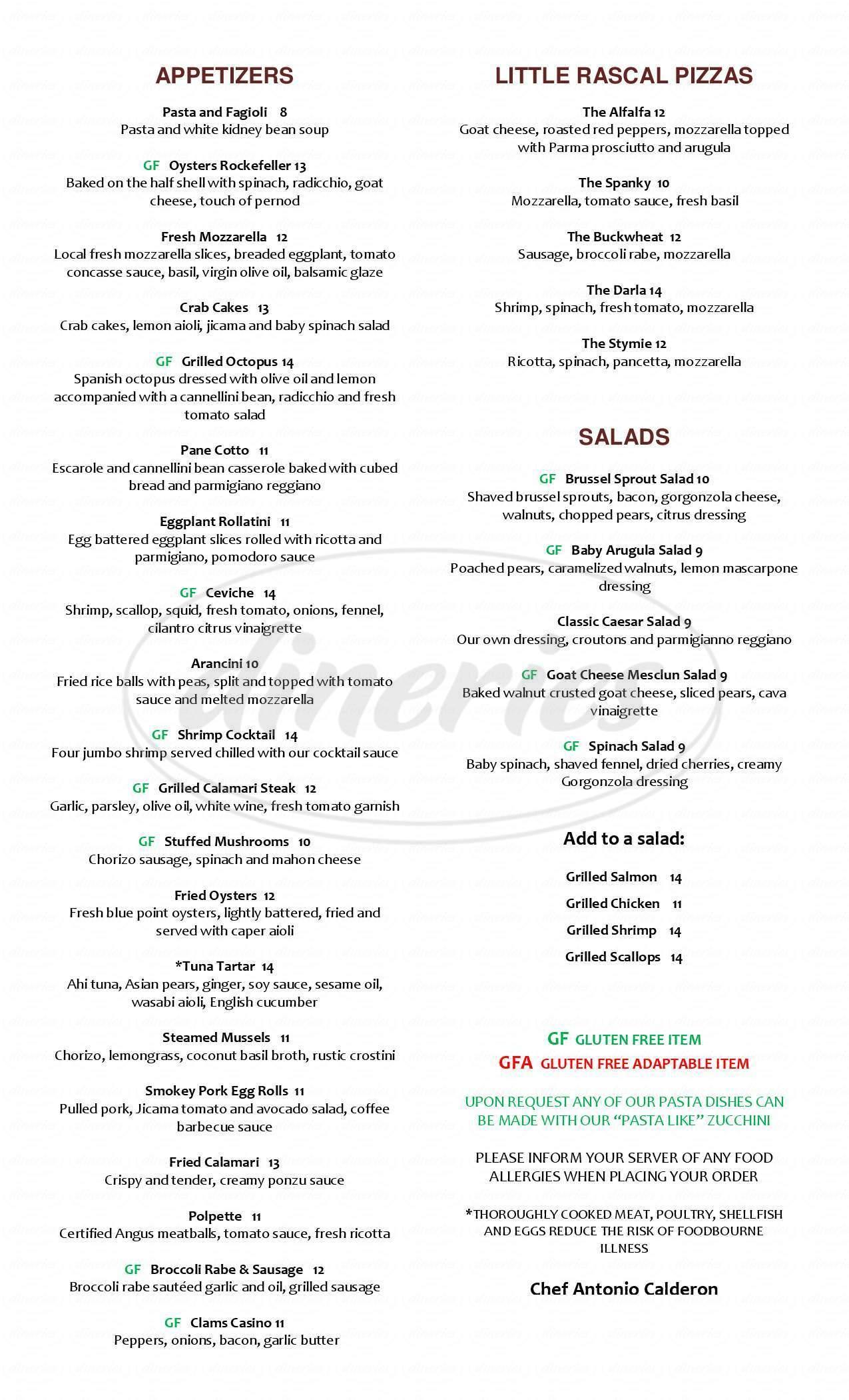 menu for Bin 100 Restaurant