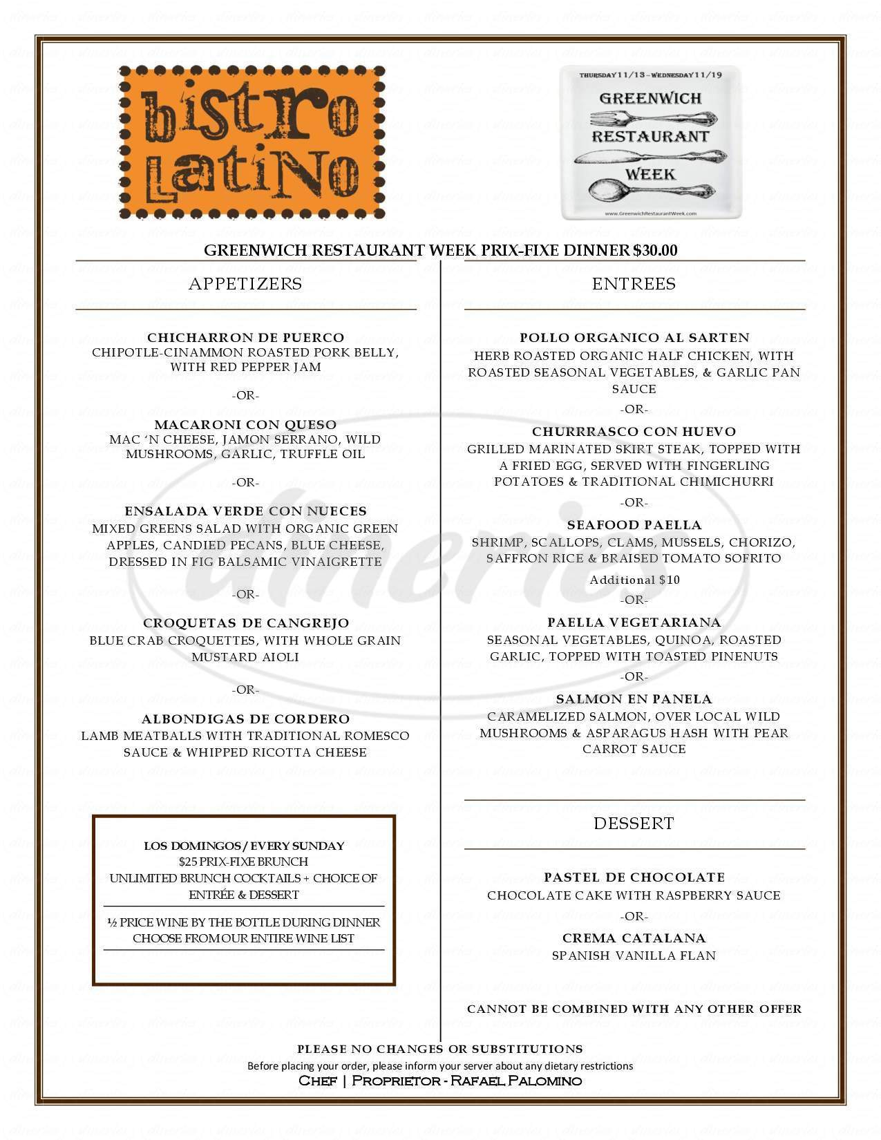 menu for Bistro Latino