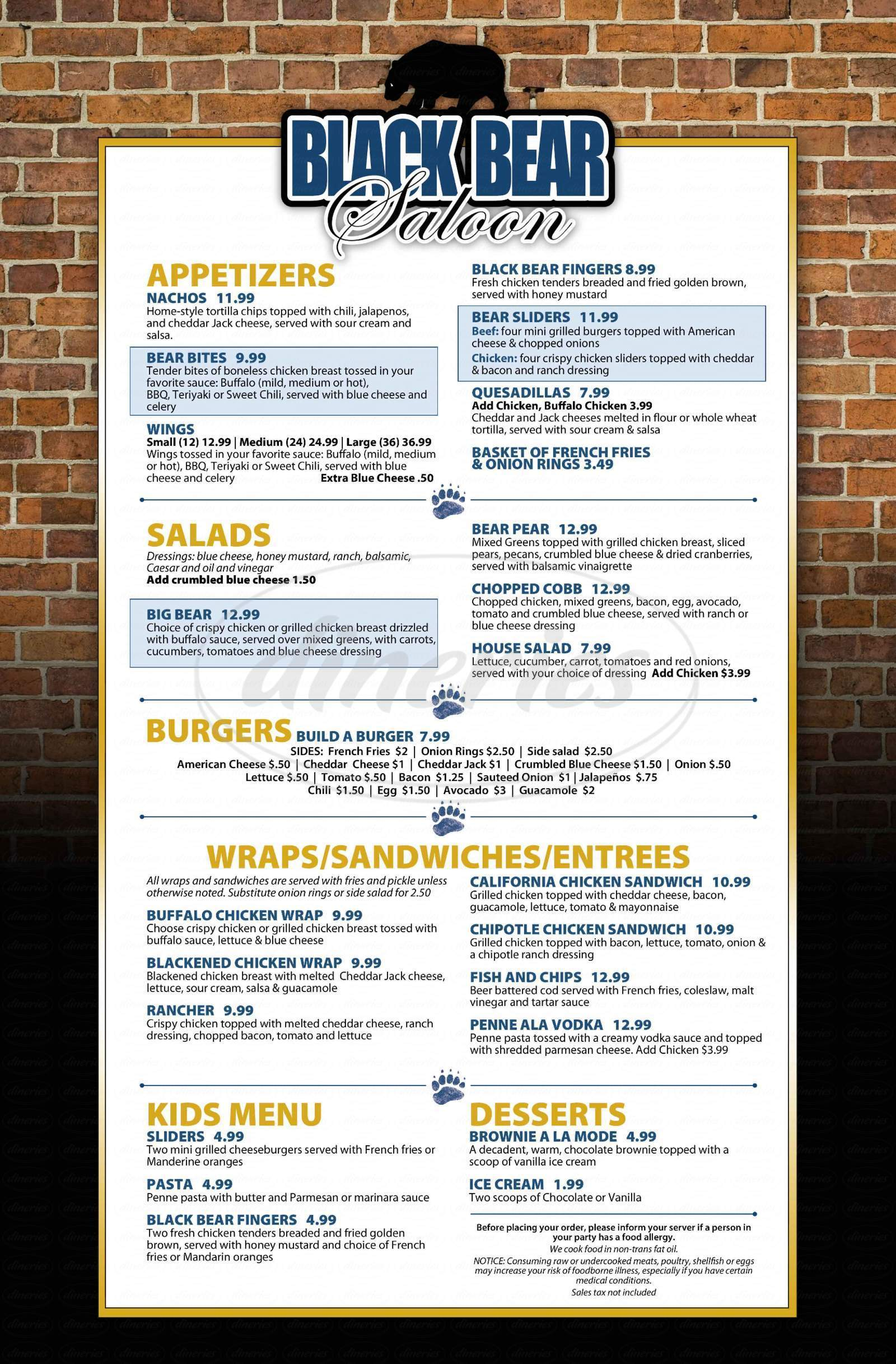 menu for Black Bear Saloon