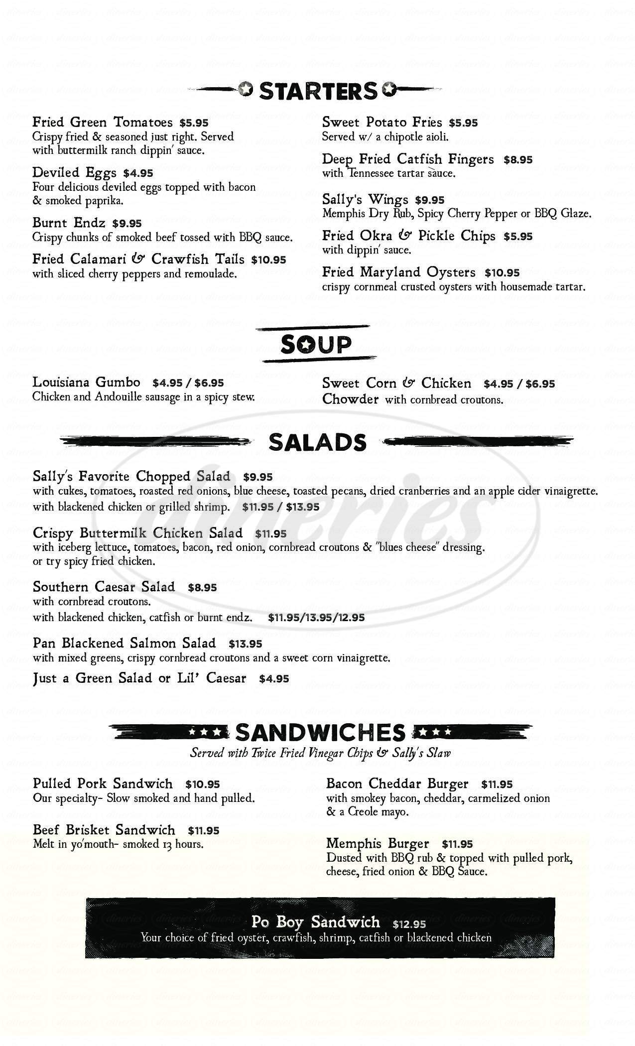menu for Black-Eyed Sally's BBQ & Blues