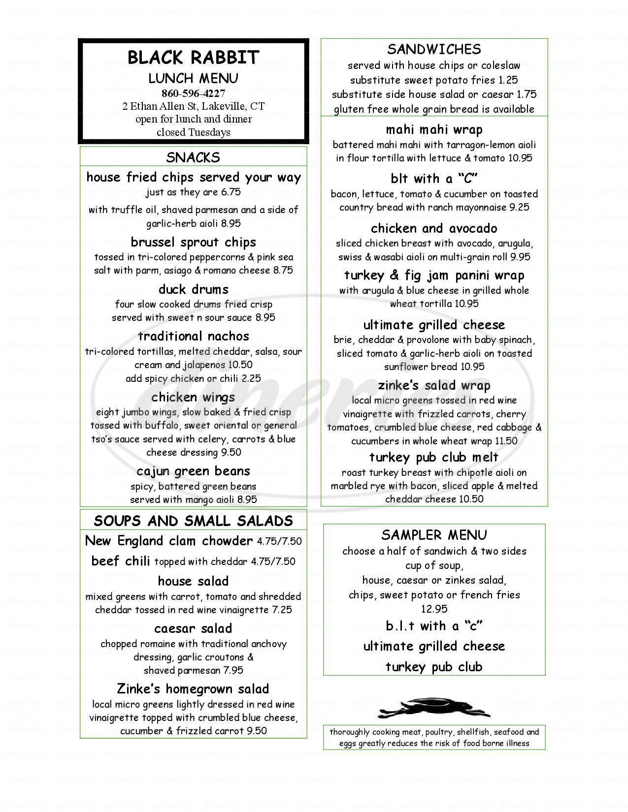 menu for Black Rabbit Bar & Grille