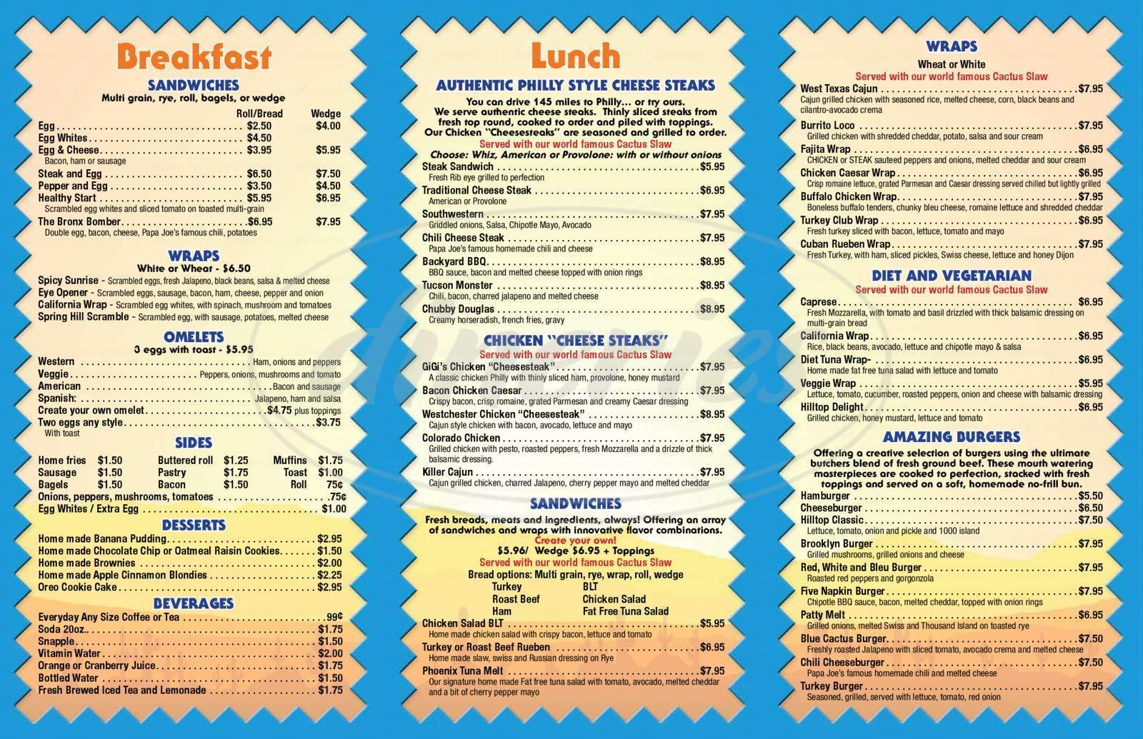 menu for Blue Cactus Grill