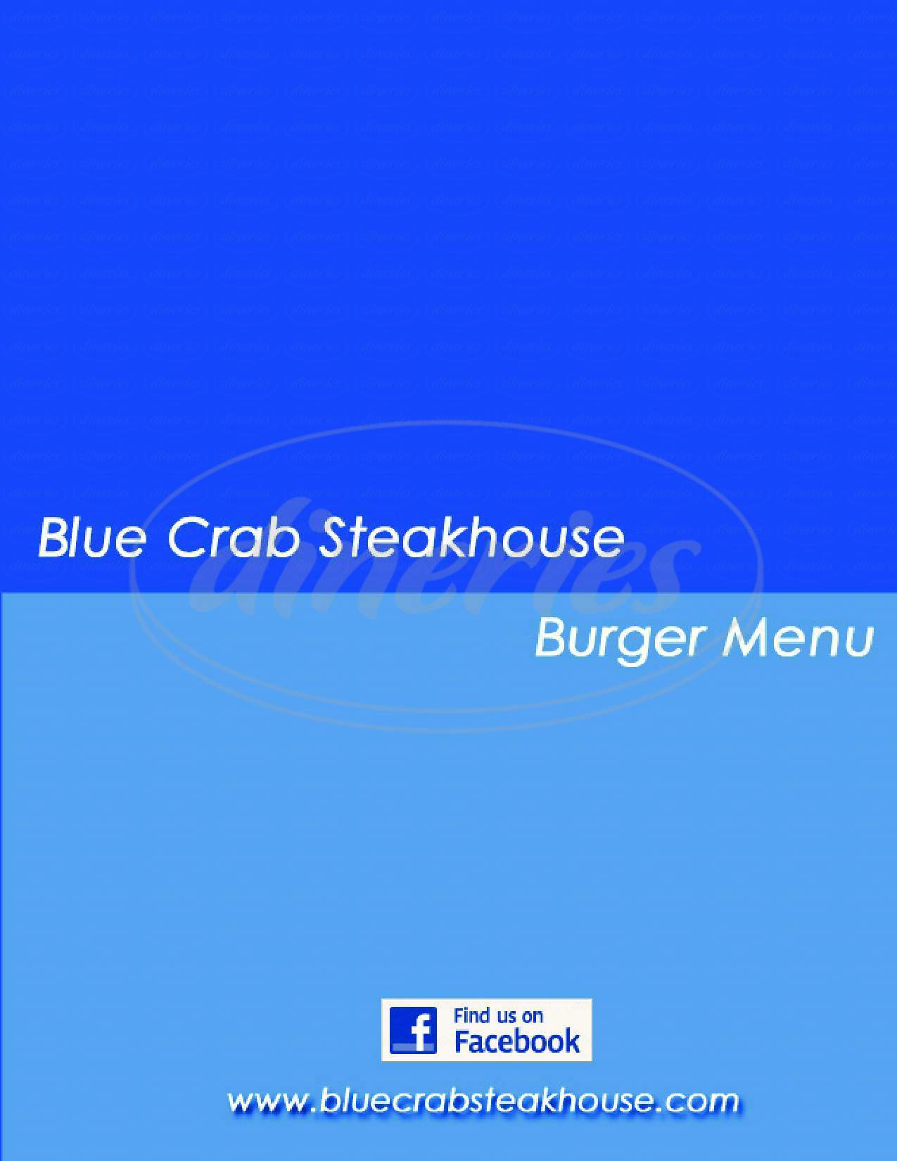 menu for Blue Crab Steakhouse