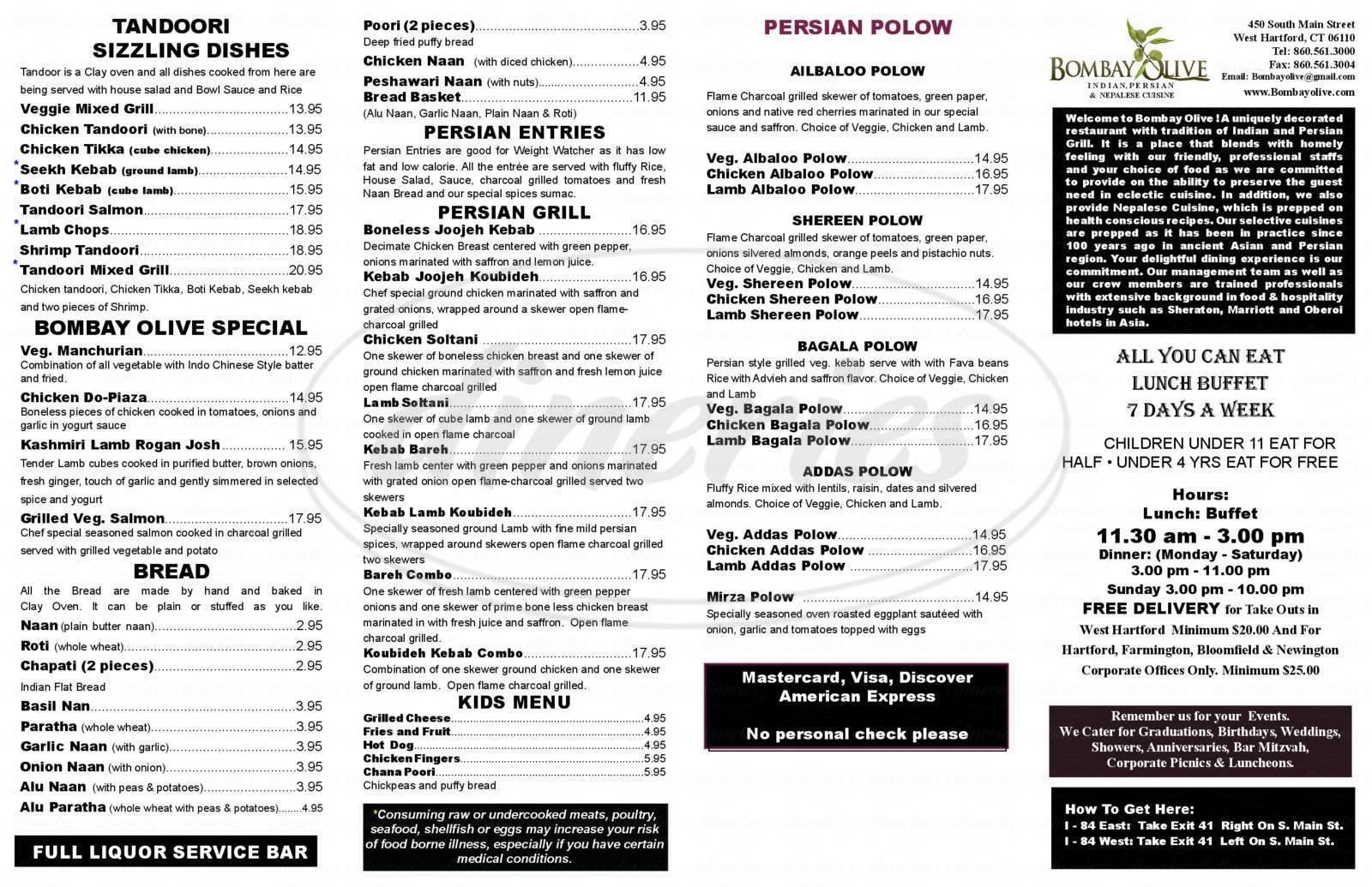menu for Bombay Olive