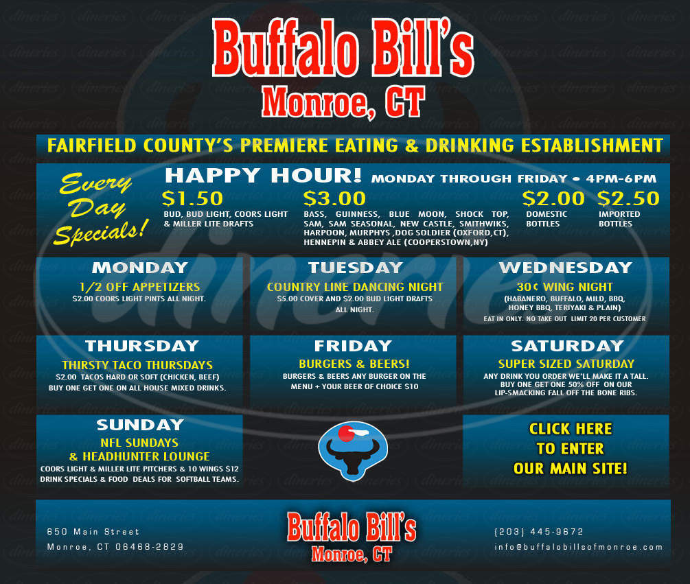 menu for Buffalo Bill's