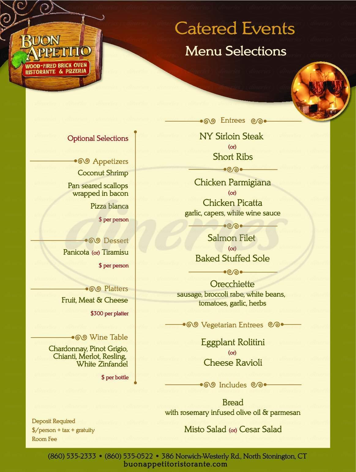 menu for Buon Appetito Ristorante & Pizzeria