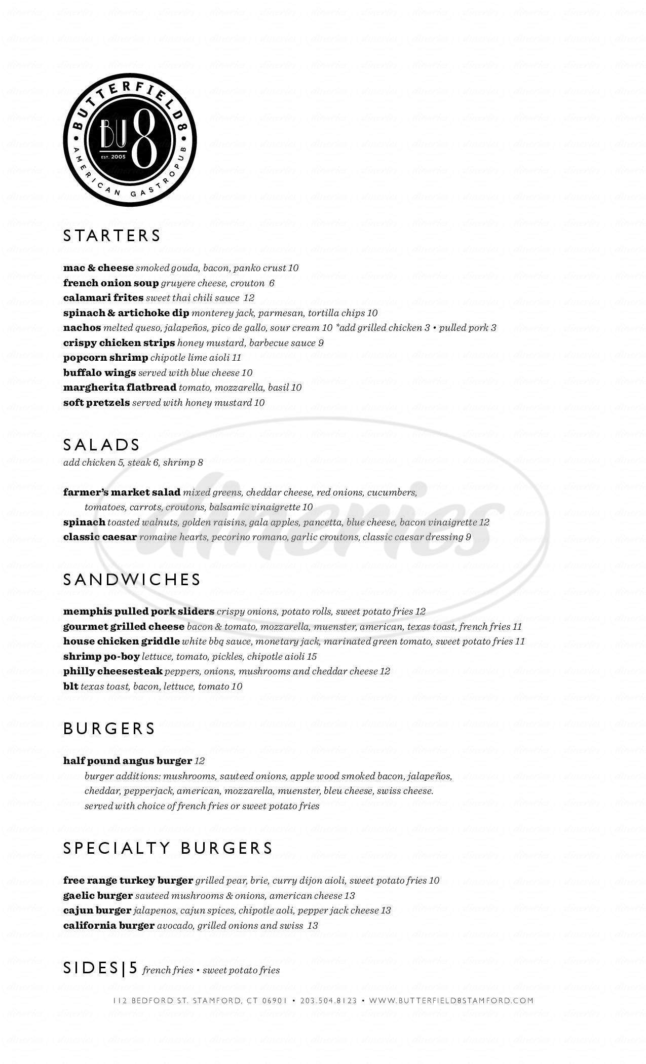 menu for Butterfield 8