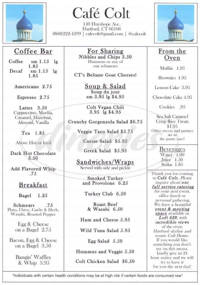 menu for Café Colt