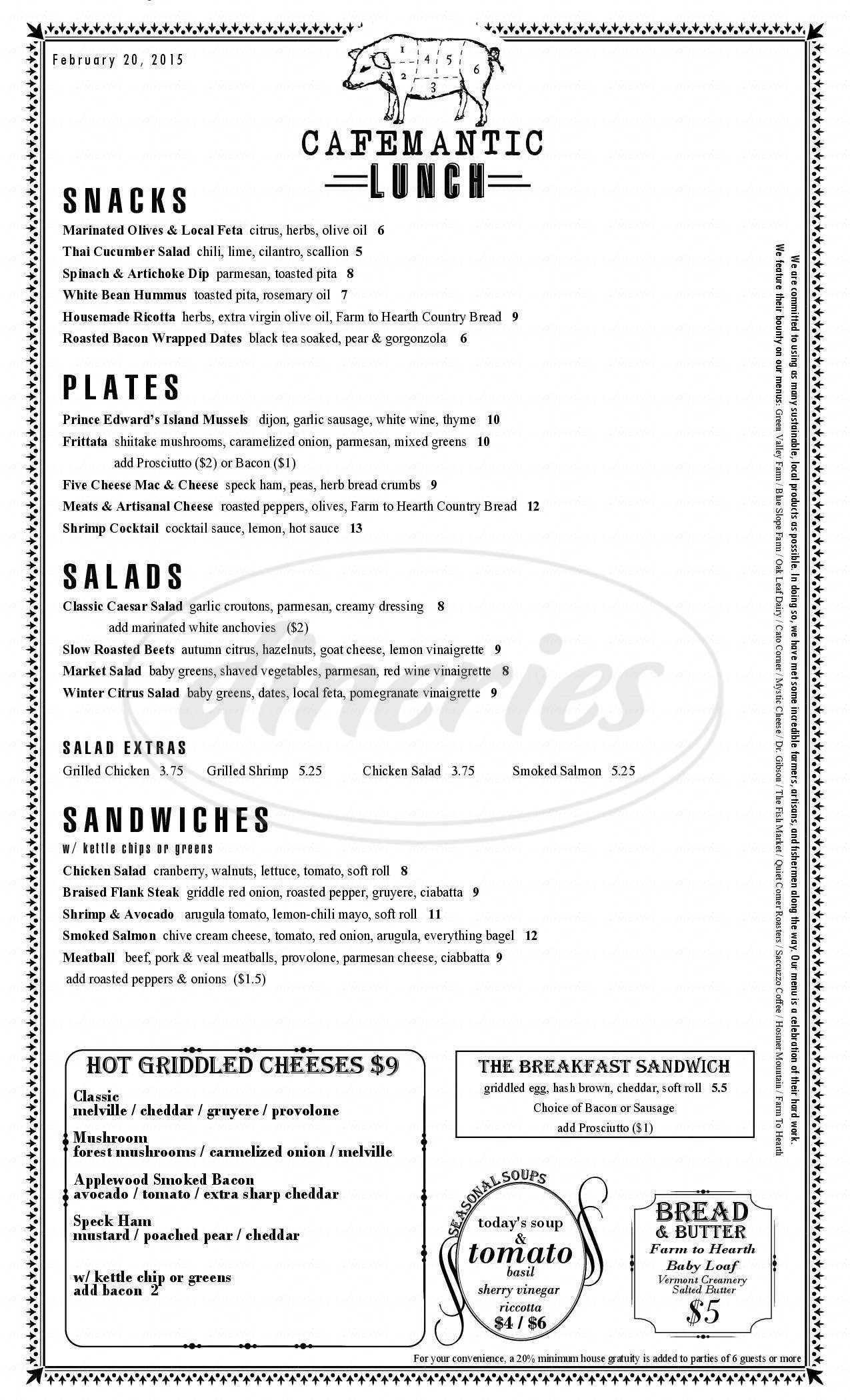 menu for Cafemantic