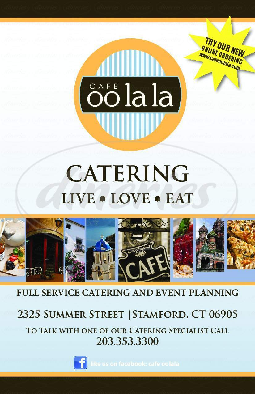 menu for Cafe Oo La La