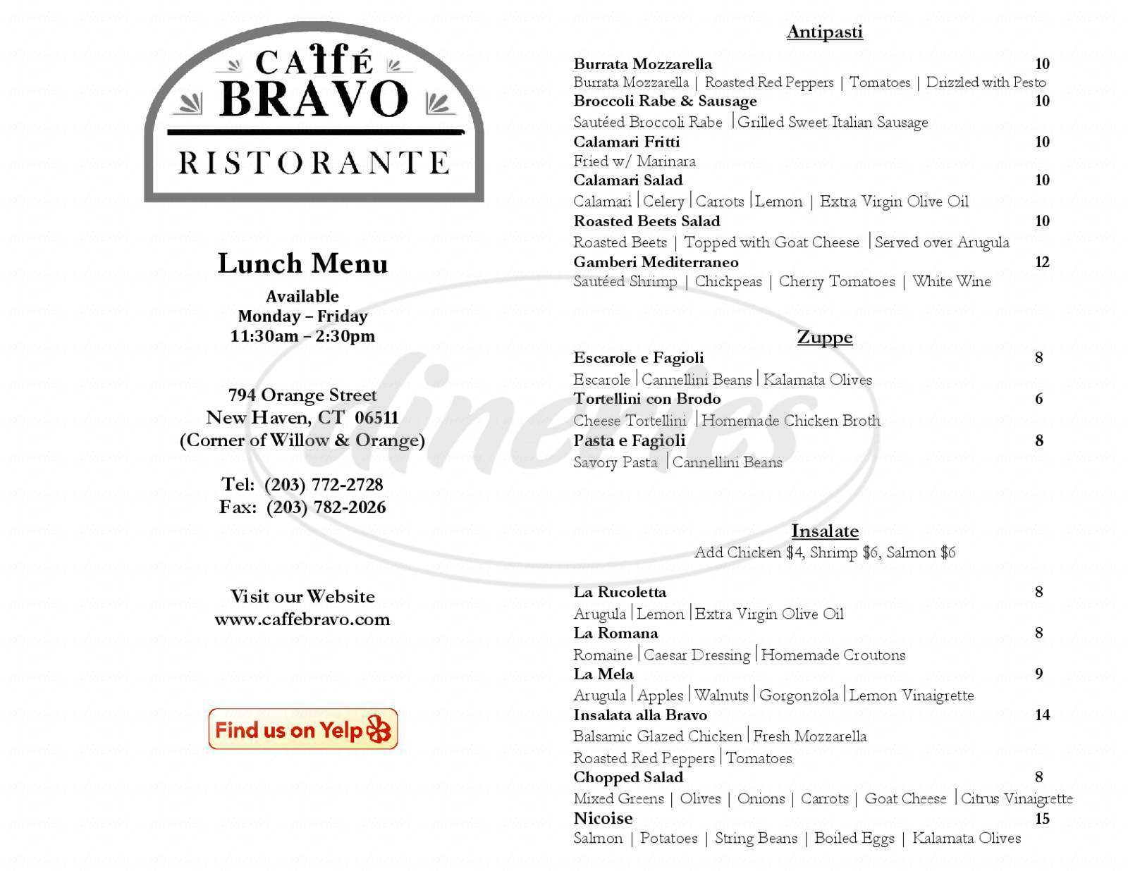 menu for Caffe Bravo
