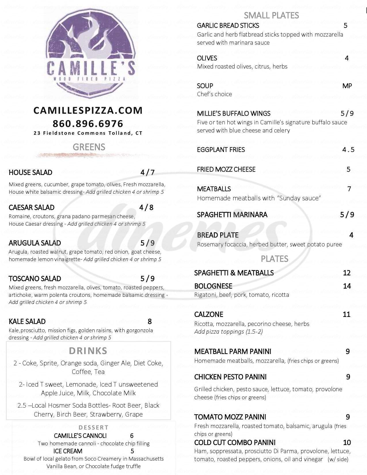 menu for Camille's Wood Fired Pizza