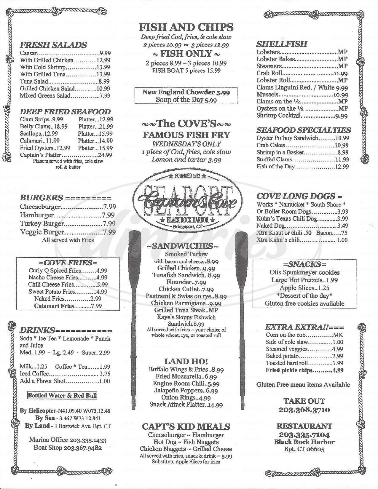menu for Captain's Cove Seaport