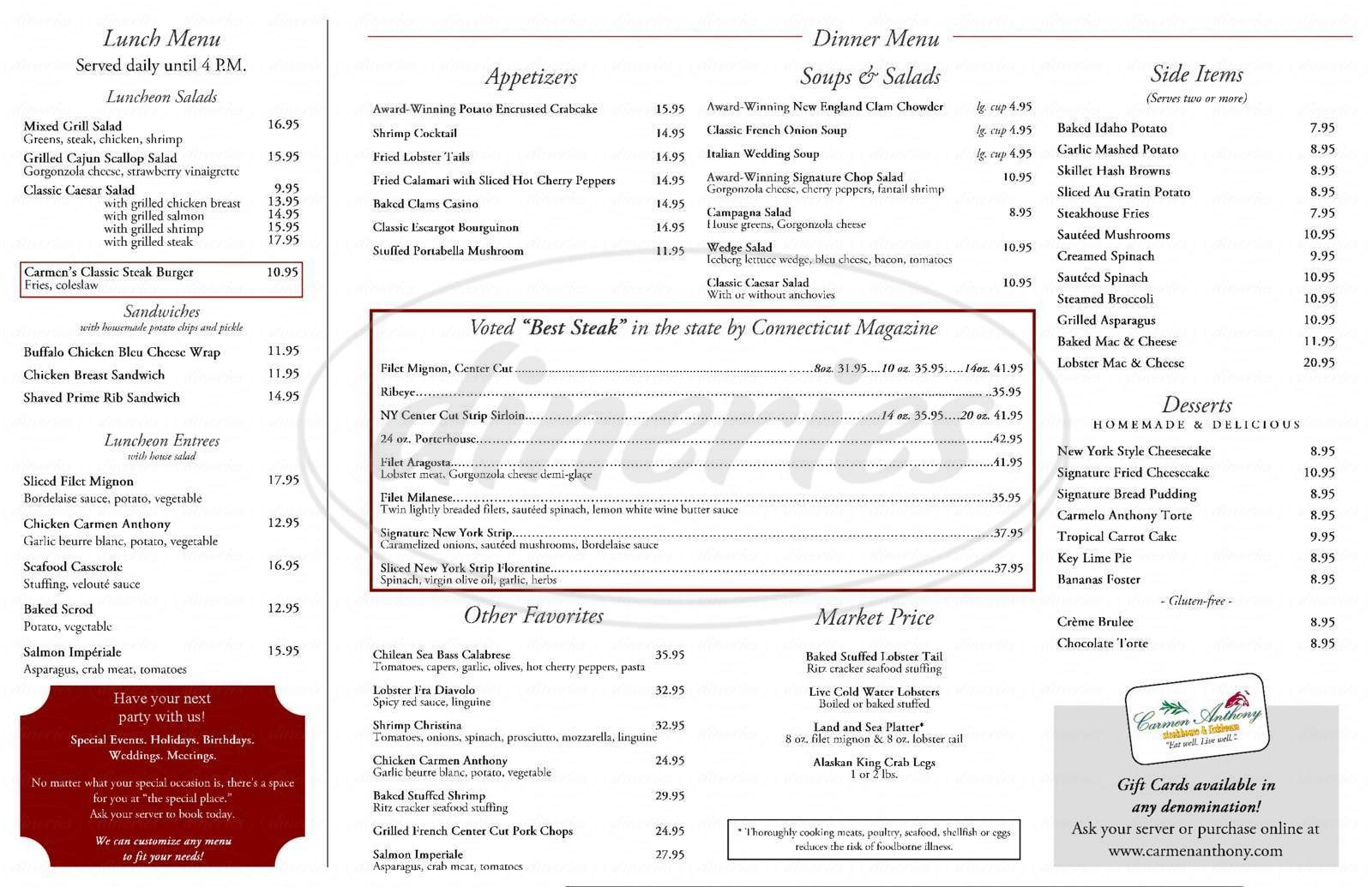 menu for Carmen Anthony Restaruant
