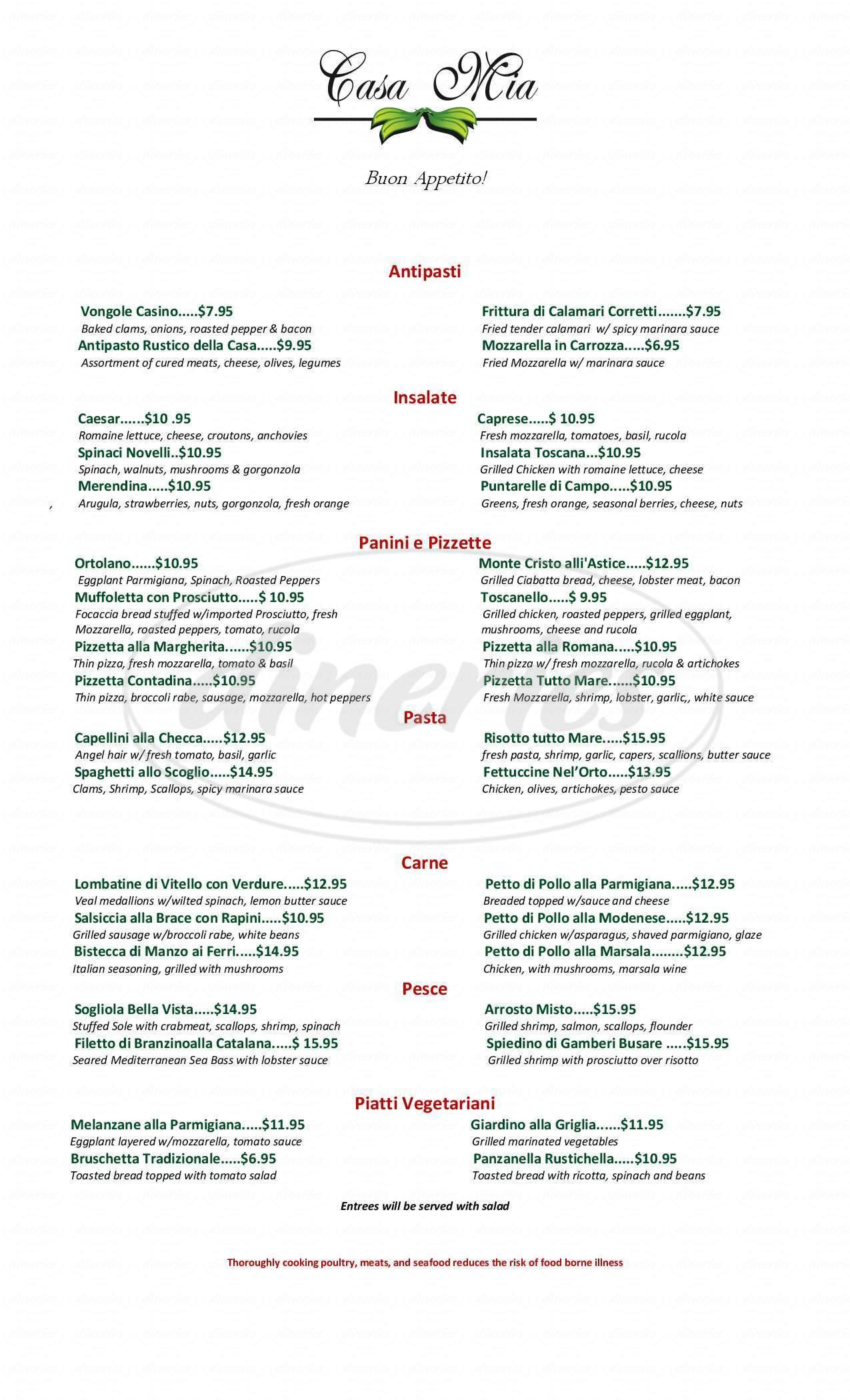 menu for Casa Mia On the Green
