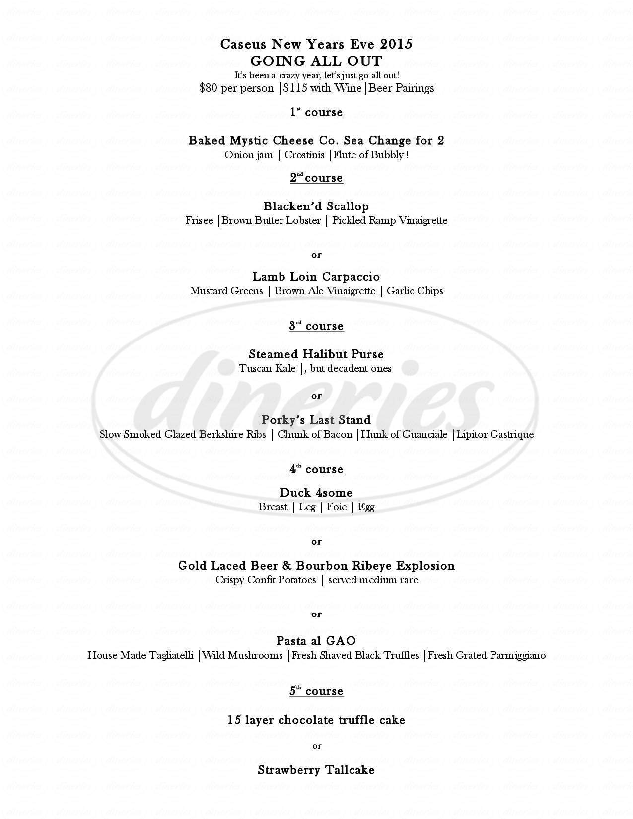 menu for Caseus Fromagerie & Bistro