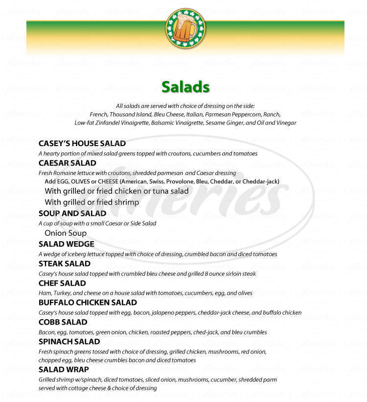 menu for Casey's Cafe