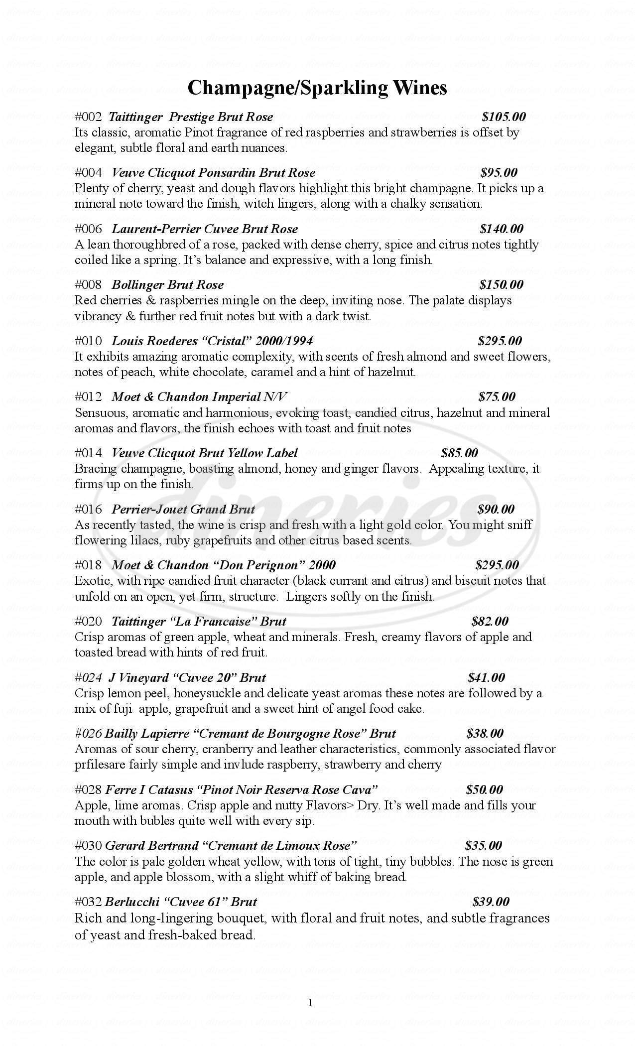 menu for Cava Wine Bar and Restaurant