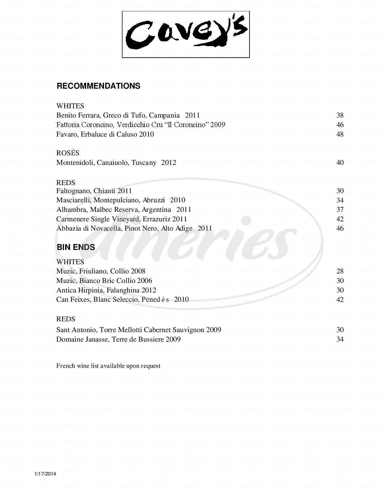 menu for Cavey's Of Manchester