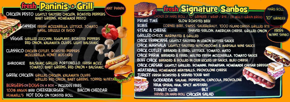 menu for CC Carvers