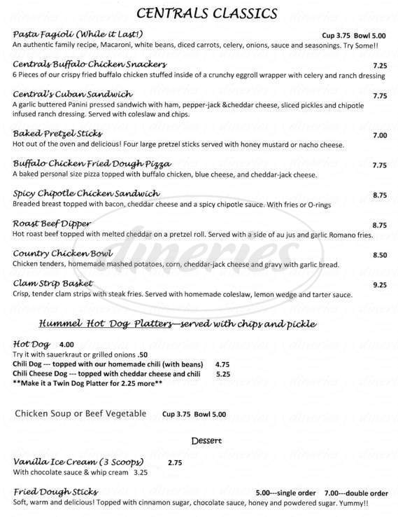menu for Central Cafe