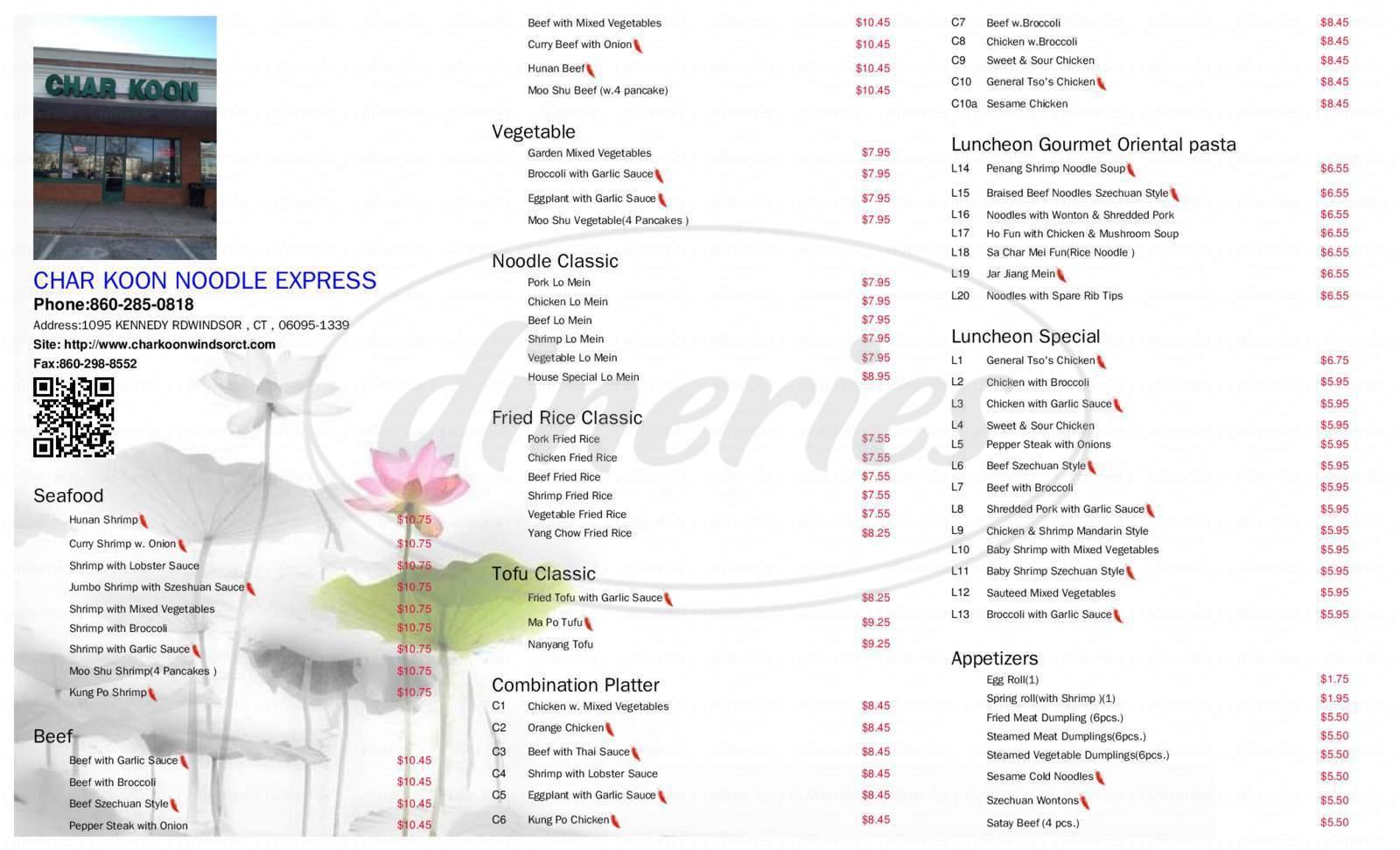 menu for Char Koon Noodle Express & Oriental Groceries