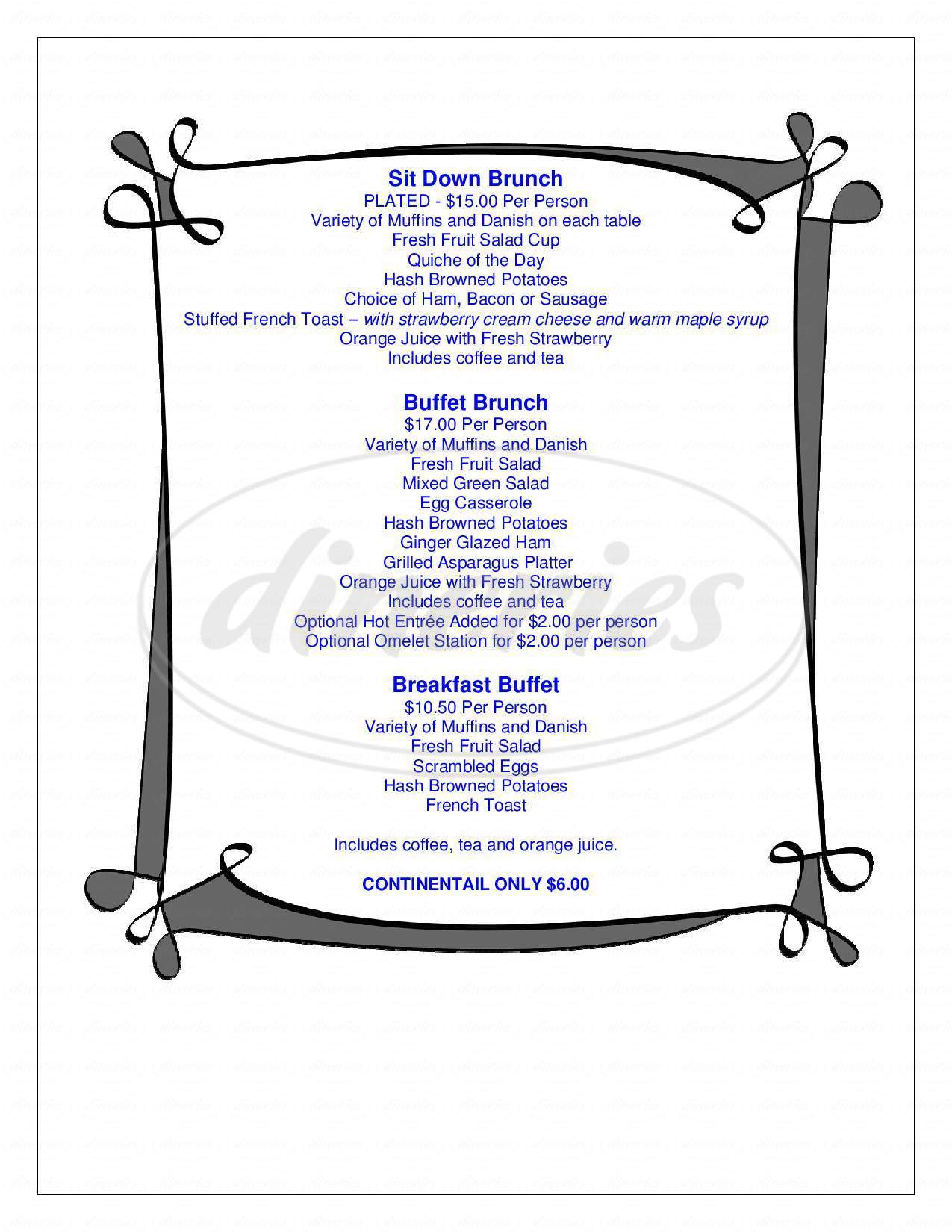 menu for P Sam's Cafe