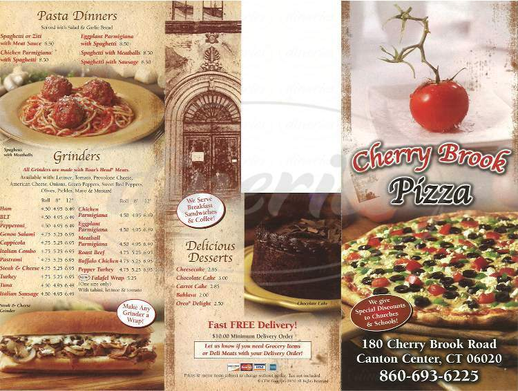 menu for Cherry Brook Pizza & Grocery