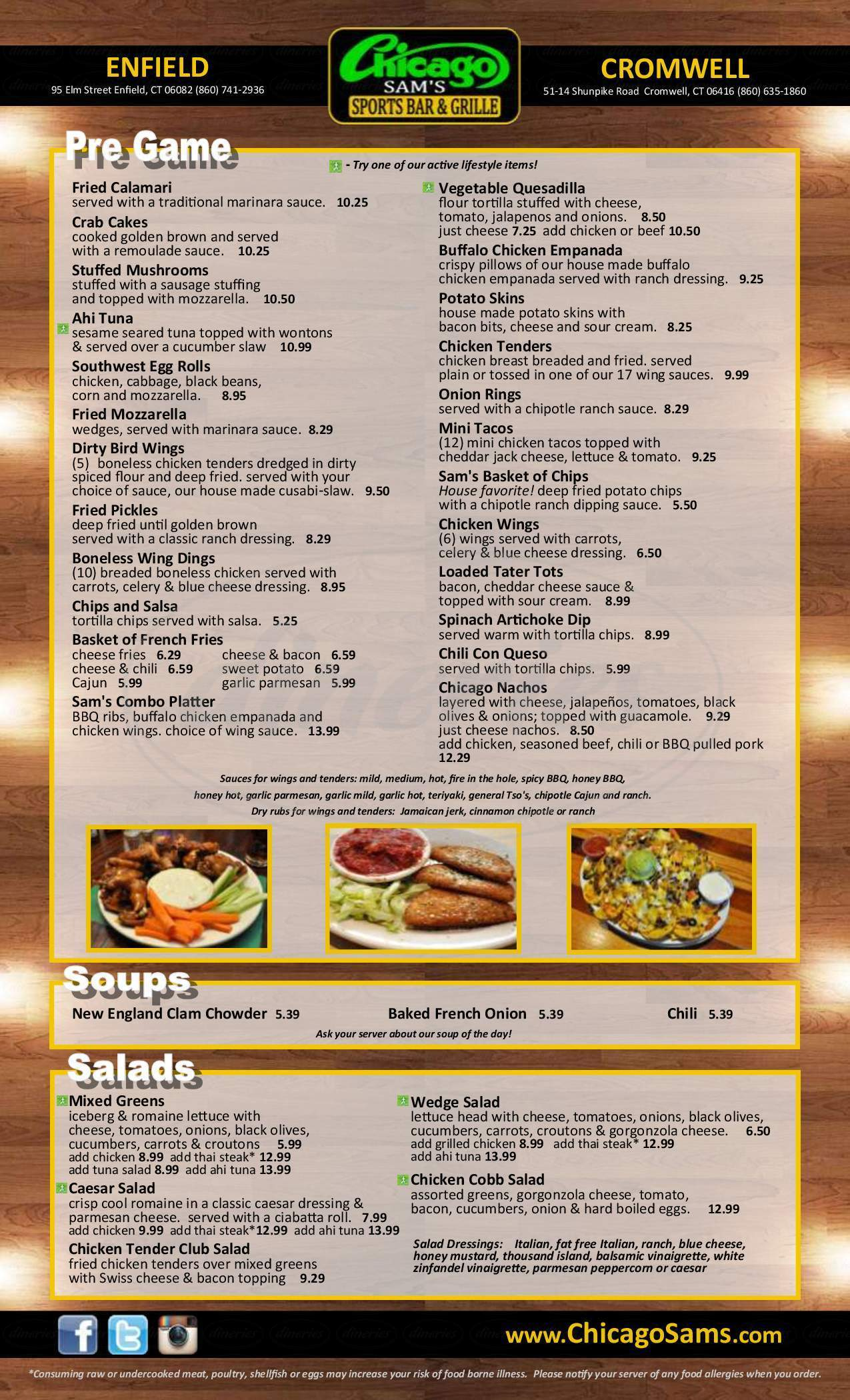 menu for Chicago Sams