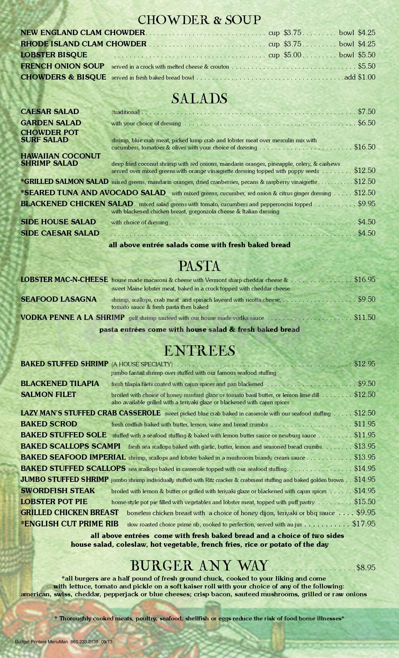 menu for USS Chowder Pot