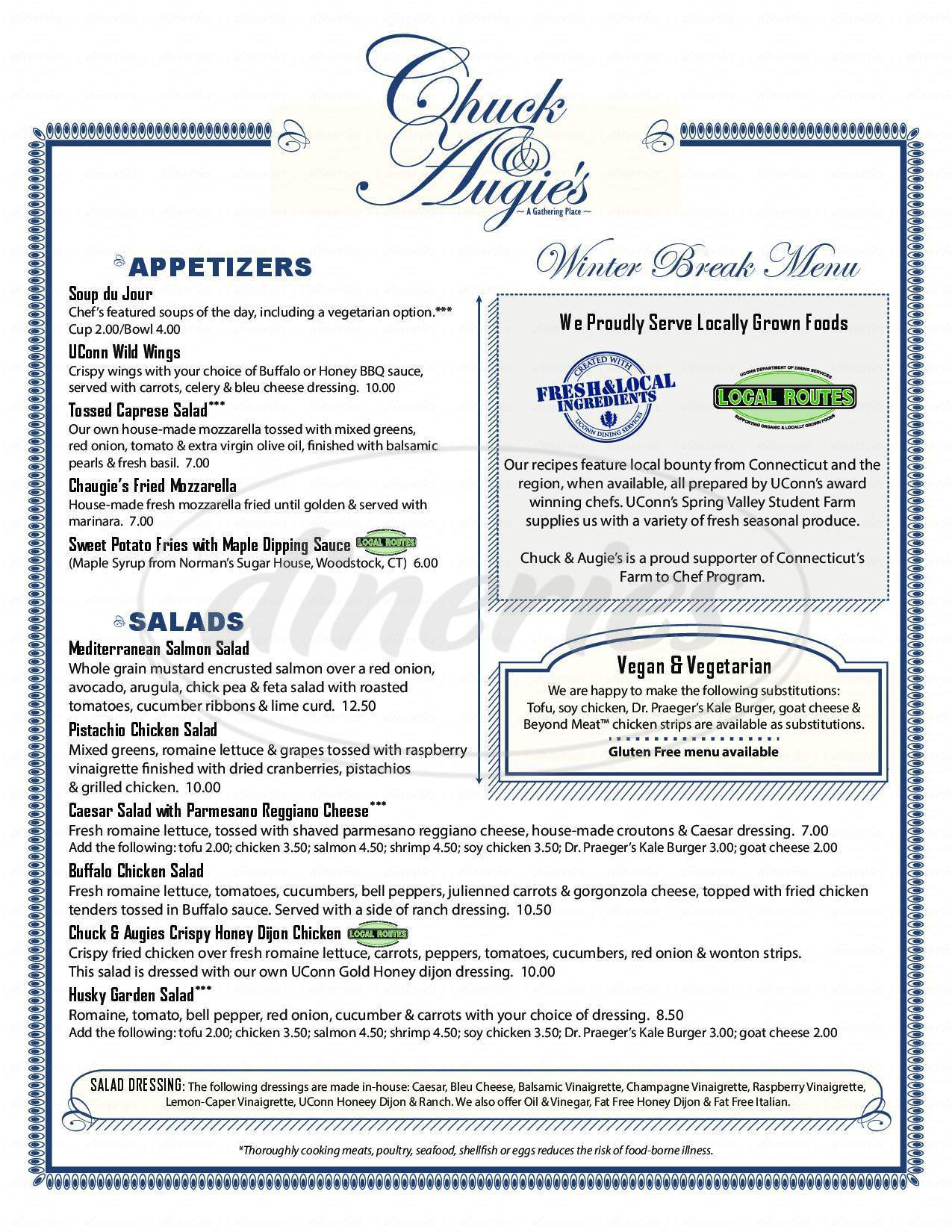 menu for Chuck & Augie's