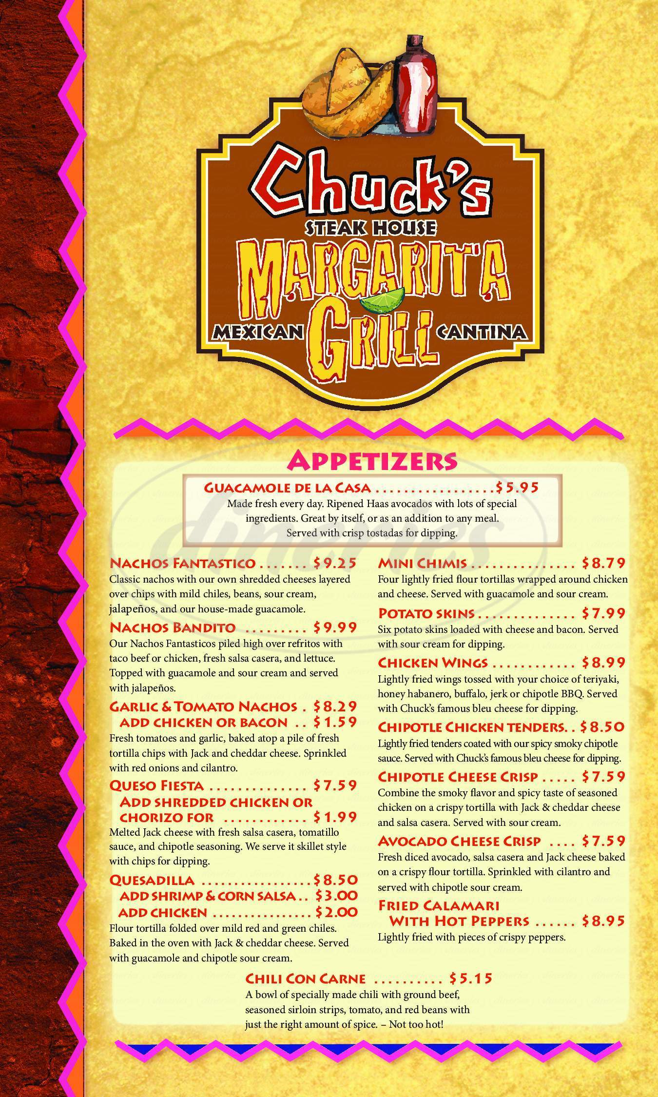 menu for Chuck's Margarita Grill