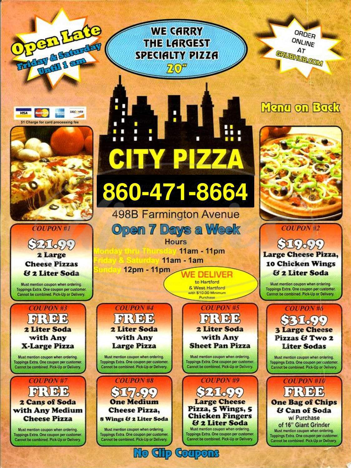 menu for City Pizza