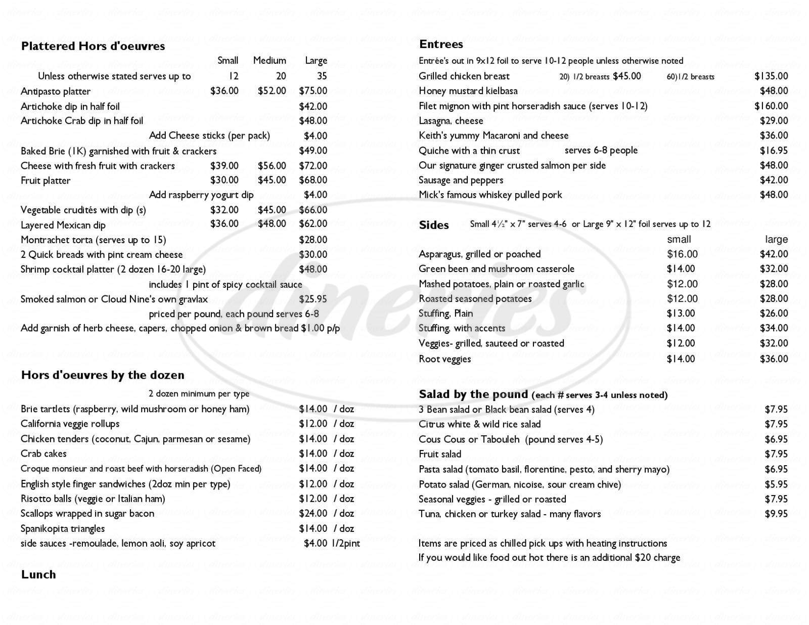 menu for Cloud Nine Catering & Deli-Cafe
