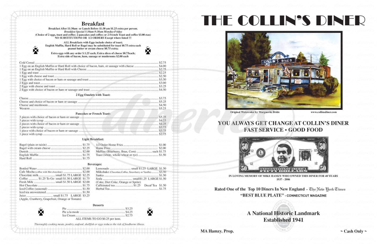 menu for Collins Diner