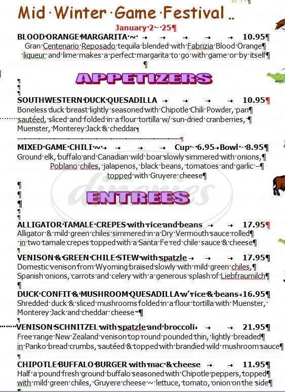 menu for Coyote Blue Tex Mex Cafe