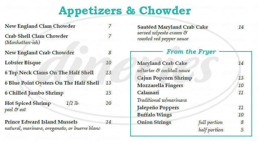 menu for Crab Shell