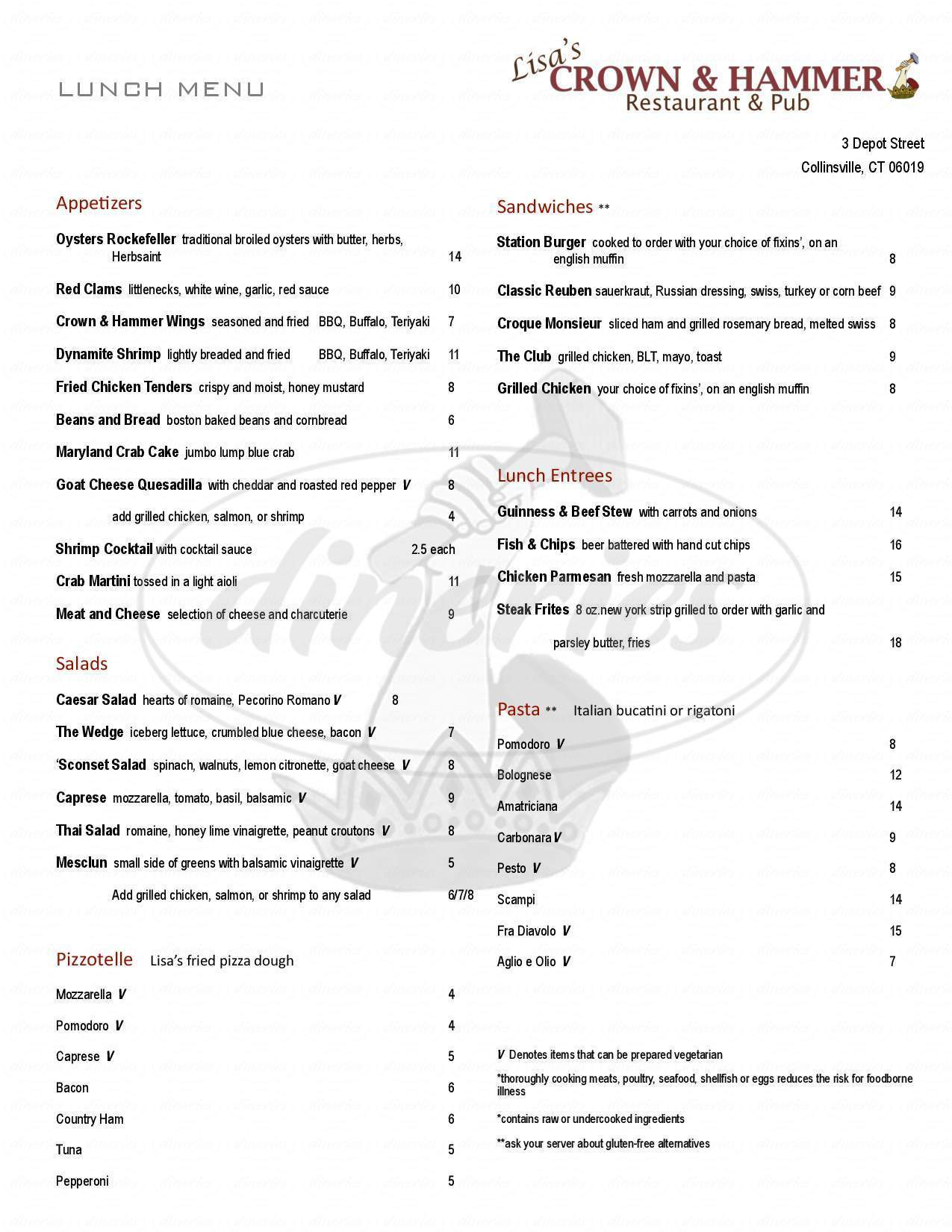 menu for Crown and Hammer Pub