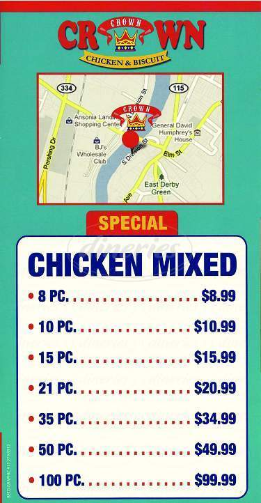 menu for Crown Fried Chicken