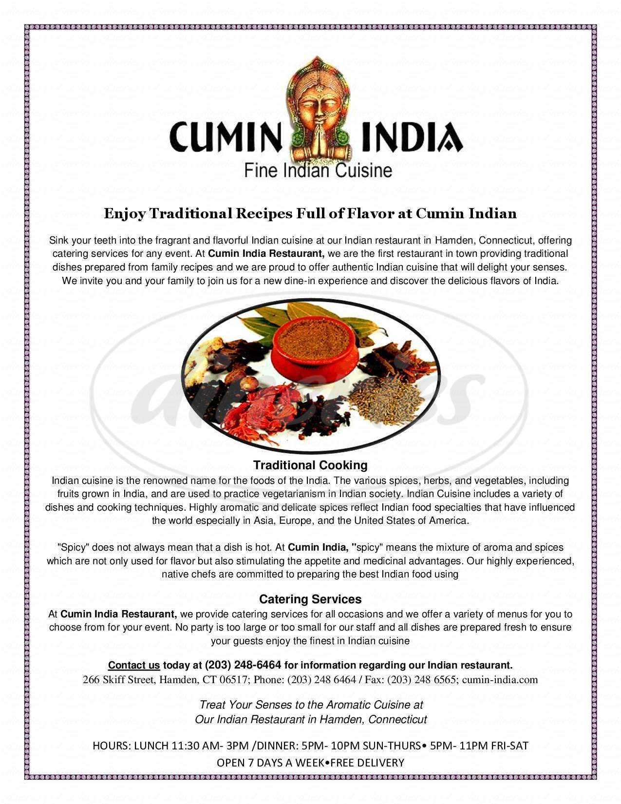 menu for Cumin India