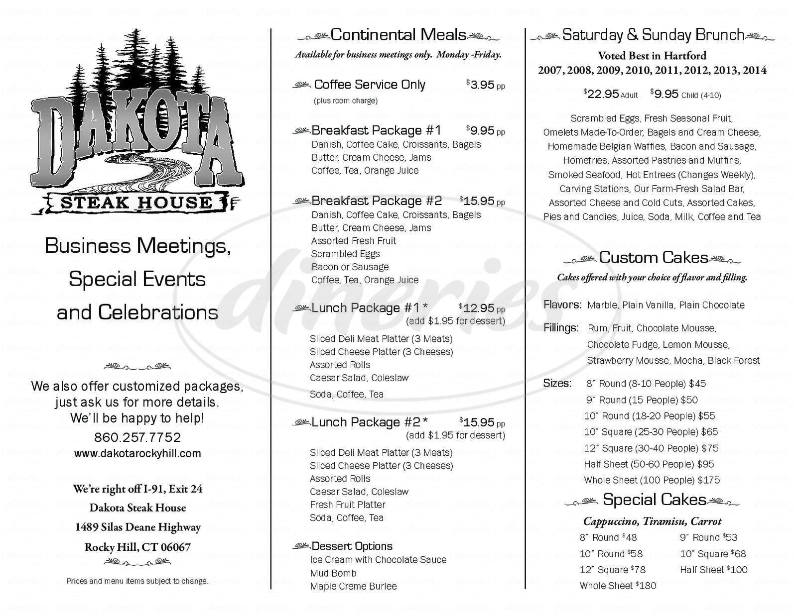 menu for Dakota Steakhouse