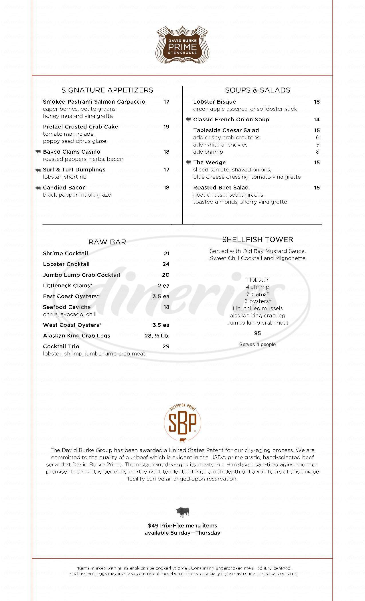 menu for David Burke Prime Steakhouse