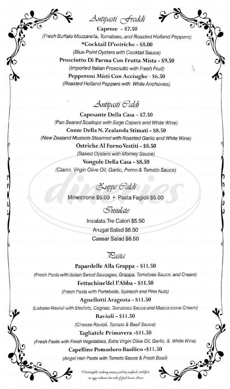 menu for Della Francesca